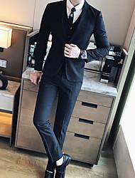 Masculino Ternos/Conjuntos Wear to work Trabalho Simples Primavera Outono,Sólido Padrão Poliéster Notch/ Paletó Manga Longa