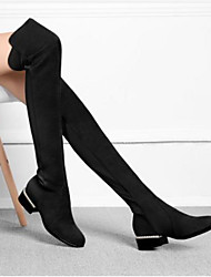 cheap -Women's Shoes Leather Winter Fashion Boots Boots Low Heel Round Toe Thigh-high Boots Black / Gray