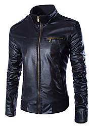 cheap -Men's Plus Size Cotton Leather Jacket - Solid Colored Stand