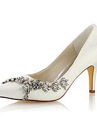 preiswerte -Damen Schuhe Stretch - Satin Frühling Herbst Pumps Hochzeit Schuhe Stöckelabsatz Spitze Zehe Kristall für Kleid Party & Festivität Weiß