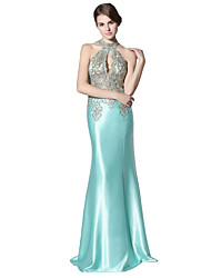 Mermaid / Trumpet Halter Floor Length Satin Prom Formal Evening Dress with Lace Sequins by Sarahbridal