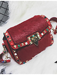cheap -Women Bags PU Crossbody Bag Beading Feathers / Fur for Casual All Season Green Black Red Brown Khaki