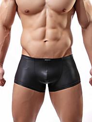 cheap -Men's Inelastic Solid Boxers Underwear Opaque,PU 1pc Black