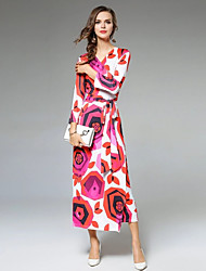cheap -Women's Casual/Daily Boho Sheath Dress,Print V Neck Maxi Long Sleeve Polyester Summer Mid Rise Micro-elastic Thin