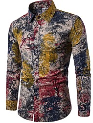 cheap -Men's Going out Club Vintage Boho Chinoiserie All Seasons Shirt,Floral Standing Collar Long Sleeve Linen Polyester Thin