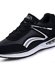 Masculino sapatos Borracha Primavera Outono Conforto Tênis Caminhada Botas Curtas / Ankle Cadarço de Borracha para Preto Branco/Preto