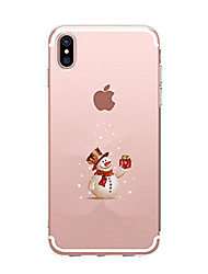 cheap -Case For Apple iPhone X iPhone 8 iPhone 8 Plus Ultra-thin Transparent Pattern Back Cover Christmas Soft TPU for iPhone X iPhone 8 Plus