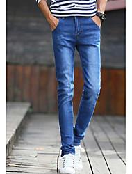 Masculino Simples Cintura Média Micro-Elástica Jeans Chinos Calças,Sólido Algodão Outono