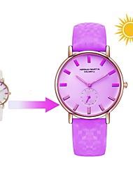 preiswerte -Damen Quartz Armbanduhr Japanisch Armbanduhren für den Alltag Echtes Leder Band Freizeit Modisch Weiß Blau Rot Lila