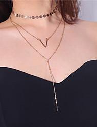Недорогие -Жен. В форме свечи Нарядная одежда Многослойный Ожерелья-бархатки Ожерелья-цепочки , Медь Сплав Ожерелья-бархатки Ожерелья-цепочки ,