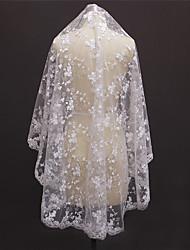 cheap -One-tier Lace Applique Edge Bridal Wedding Wedding Veil Fingertip Veils 53 Laces Lace