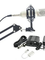 baratos -KEBTYVOR BM800 Com Fio Microfone Conjuntos Microfone Condensador Profissional Para Computadores e Notebooks