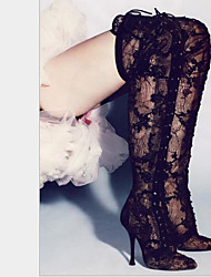 cheap -Women's Shoes Lace Winter Comfort Boots Stiletto Heel Pointed Toe Thigh-high Boots for Casual Black