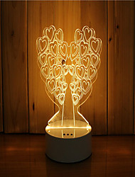 1 jeu de 3d humeur nuit main légère se sentant dimmable usb cadeau arbre de lampe de cadeau
