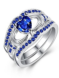 cheap -Women's Cubic Zirconia / Synthetic Sapphire Band Ring - Gold Plated Fashion 6 / 7 / 8 Blue / Blue LED For Gift / Daily