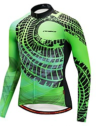 cheap -CYCOBYCO Men's Long Sleeve Cycling Jersey - Green Bike Jersey, Quick Dry Fleece, Silicon