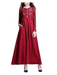 baratos -Mulheres Feriado Vintage Algodão Bainha Vestido Sólido Decote V Longo / Outono / Inverno