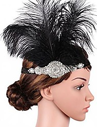 cheap -The Great Gatsby Flapper Headband 1920s Black Feather Cosplay Accessories Masquerade