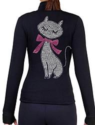 Недорогие -Флисовая куртка для фигурного катания Жен. Катание на коньках Толстовка Верхняя часть Черный Розовый с красным Спандекс Эластичная Учебный Соревнование Одежда для фигурного катания Однотонный