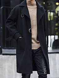 Men's Casual/Daily Simple Winter Fall Trench Coat,Solid Peter Pan Collar Long Sleeve Regular Nylon Pleated