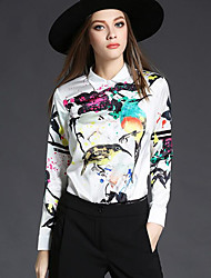 cheap -Women's Daily Casual Shirt,Print Shirt Collar Long Sleeve Polyester