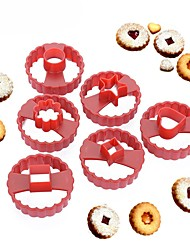 economico -multifunzionale cookie cutter cake decorating fondente candy stampo linzer cookie mold set di 6