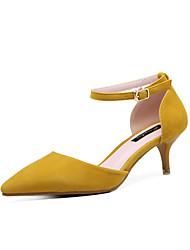 preiswerte -Damen Schuhe Kunstleder Frühling Sommer Pumps High Heels Kitten Heel-Absatz Spitze Zehe Schnalle für Normal Kleid Schwarz Gelb