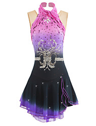 cheap -Figure Skating Dress Women's Girls' Ice Skating Dress Black+Purple Spandex Rhinestone Sequined Pearls Performance Activewear Skating Wear