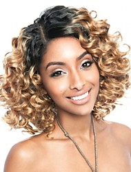 cheap -Synthetic Wig Loose Wave Layered Haircut Synthetic Hair Ombre Hair Brown Wig Women's Short Capless