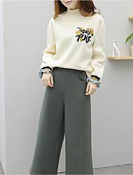 economico -T-shirt Pantalone Completi abbigliamento Da donna Quotidiano Casual Inverno,Fantasia floreale Rotonda Seta Maniche lunghe