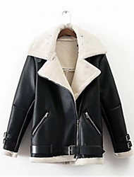 cheap -Women's Going out Street chic Winter Leather Jacket,Solid Peter Pan Collar Long Sleeve Regular Others