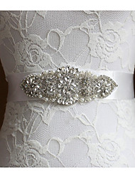 cheap -Silk Like Satin Wedding Party / Evening Sash With Rhinestone Imitation Pearl Women's Sashes
