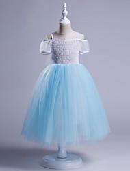 abordables -Robe Fille de Noël Anniversaire Couleur Pleine Coton Polyester Eté Automne Manches Courtes Mignon Bleu Rose Claire