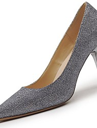 Women's Shoes PU Winter Fall Comfort Heels High Heel Pointed Toe for Casual Silver White