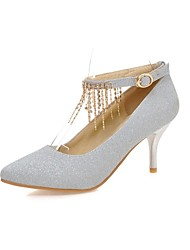 baratos -Mulheres Sapatos Gliter / Materiais Customizados Primavera / Outono Inovador Saltos Salto Alto Dedo Apontado Preto / Prateado / Vermelho