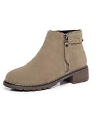 Feminino Sapatos Camurça Inverno Outono Coturnos Botas Salto Robusto Ponta Redonda Botas Curtas / Ankle para Casual Preto Amêndoa