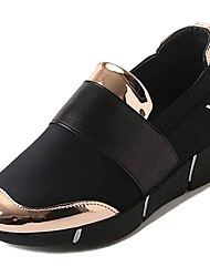 cheap -Women's Shoes PU Winter Fall Comfort Athletic Shoes Walking Shoes Flat Heel Round Toe for Casual Black Gold