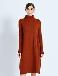 cheap -FRMZ Women's Vintage Loose Sweater Dress - Solid Colored Turtleneck