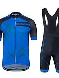 cheap -Cycling Jersey with Bib Shorts Unisex Short Sleeves Bike Clothing Suits Bike Wear Quick Dry Geometric Cycling / Bike Blue