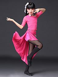 abordables -Tendremos trajes de danza del vientre para niños que entrenan en encaje de poliéster de manga corta con faldas sueltas