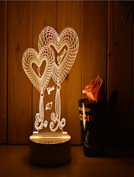 cheap -1 Set Of 3D Mood Night Light Hand Feeling Dimmable USB Powered Gift Lamp Double Heart