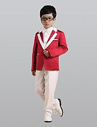 abordables -Bordeaux Polyester Costume de Porteur d'Alliance - 6 Comprend Veste Large Ceinture Gilet Chemise Pantalon Noeud Papillon