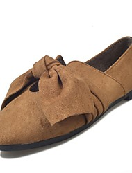 Feminino Sapatos Couro Ecológico Inverno Outono Conforto Mocassins e Slip-Ons Raso Ponta Redonda para Casual Preto Marron Khaki