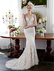 cheap -Mermaid / Trumpet V-neck Sweep / Brush Train Lace Wedding Dress with Appliques Buttons by LAN TING BRIDE®