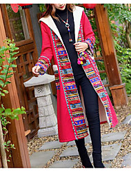 cheap -Women's Padded Coat,Boho Going out Color Block-Linen Cotton Long Sleeves