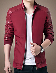 cheap -Men's Slim Jacket - Solid Colored, Patchwork Stand