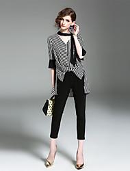 economico -Camicia Per donna Vintage A strisce A V Manica Flare