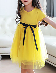 cheap -Girl's Daily Solid Dress, Cotton Summer Short Sleeves Cute Yellow
