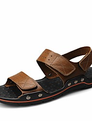 cheap -Shoes Cowhide Nappa Leather Leather Summer Comfort Sandals for Office & Career Outdoor Brown Khaki