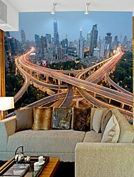 cheap -Art Deco 3D Home Decoration Contemporary City View Wall Covering , Vinylal Material Adhesive required Mural , Room Wallcovering